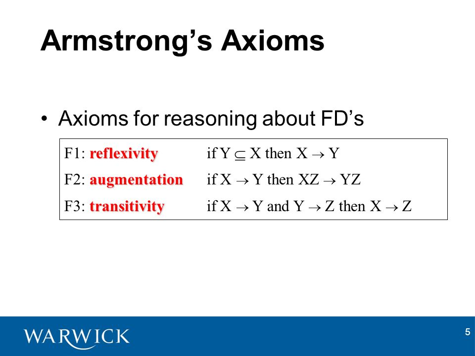 5 Armstrongs Axioms Axioms for reasoning about FDs reflexivity F1: reflexivity if Y X then X Y augmentation F2: augmentation if X Y then XZ YZ transitivity F3: transitivityif X Y and Y Z then X Z