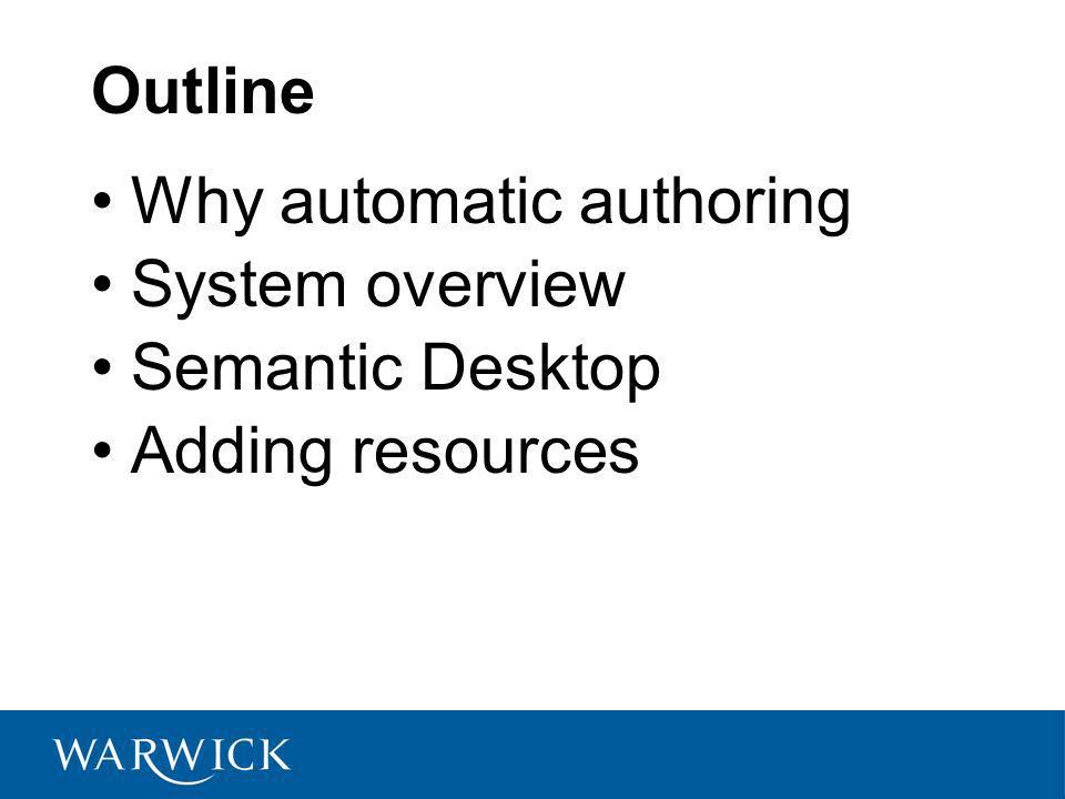 Outline Why automatic authoring System overview Semantic Desktop Adding resources