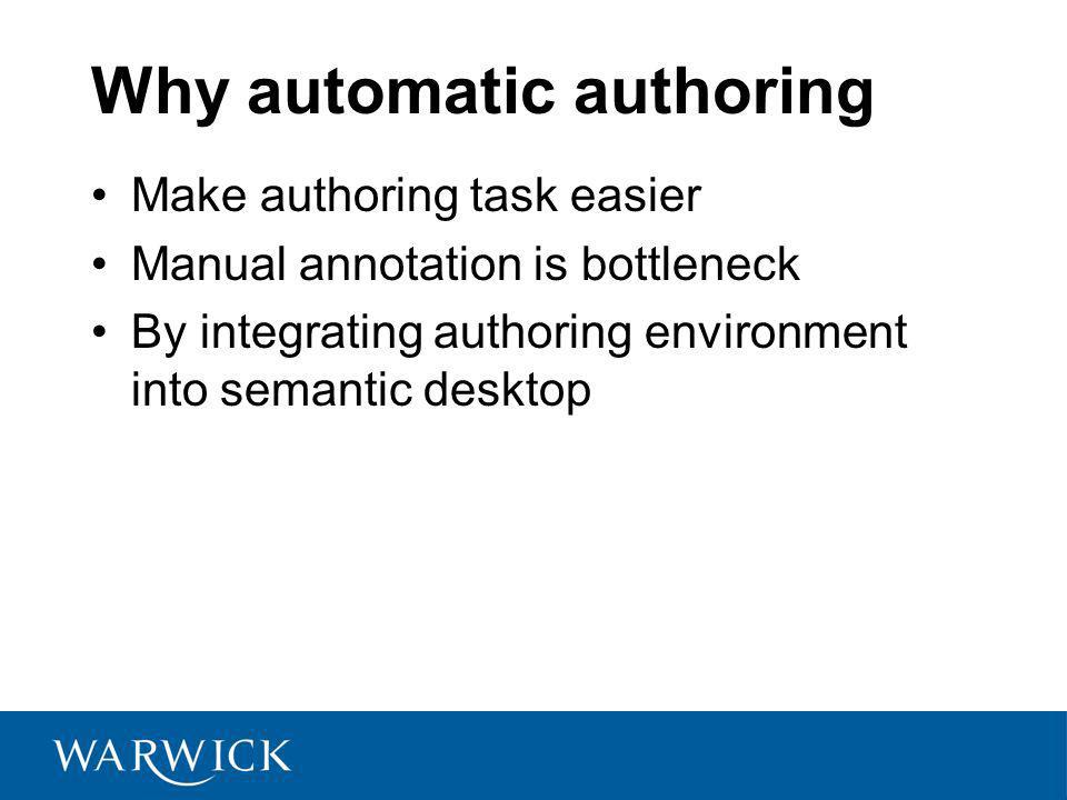 Why automatic authoring Make authoring task easier Manual annotation is bottleneck By integrating authoring environment into semantic desktop