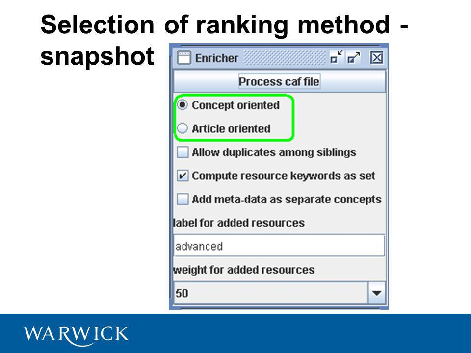 Selection of ranking method - snapshot