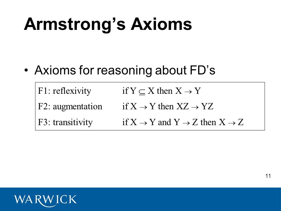 Armstrongs Axioms Axioms for reasoning about FDs F1: reflexivityif Y X then X Y F2: augmentation if X Y then XZ YZ F3: transitivityif X Y and Y Z then X Z 11