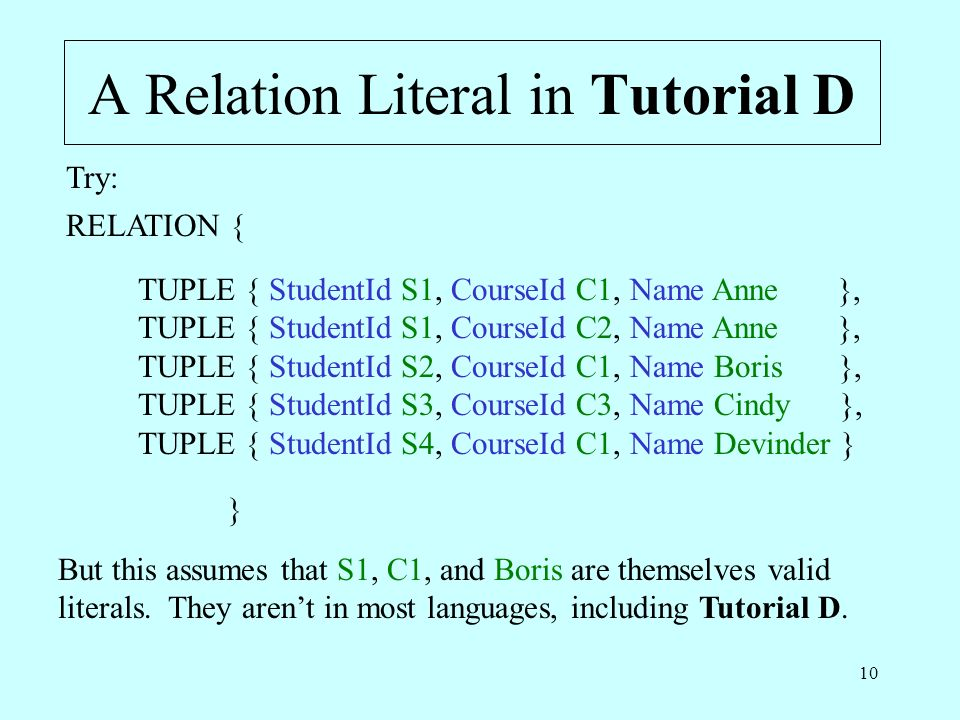 10 A Relation Literal in Tutorial D RELATION { TUPLE { StudentId S1, CourseId C1, Name Anne }, TUPLE { StudentId S1, CourseId C2, Name Anne }, TUPLE { StudentId S2, CourseId C1, Name Boris }, TUPLE { StudentId S3, CourseId C3, Name Cindy }, TUPLE { StudentId S4, CourseId C1, Name Devinder } } Try: But this assumes that S1, C1, and Boris are themselves valid literals.