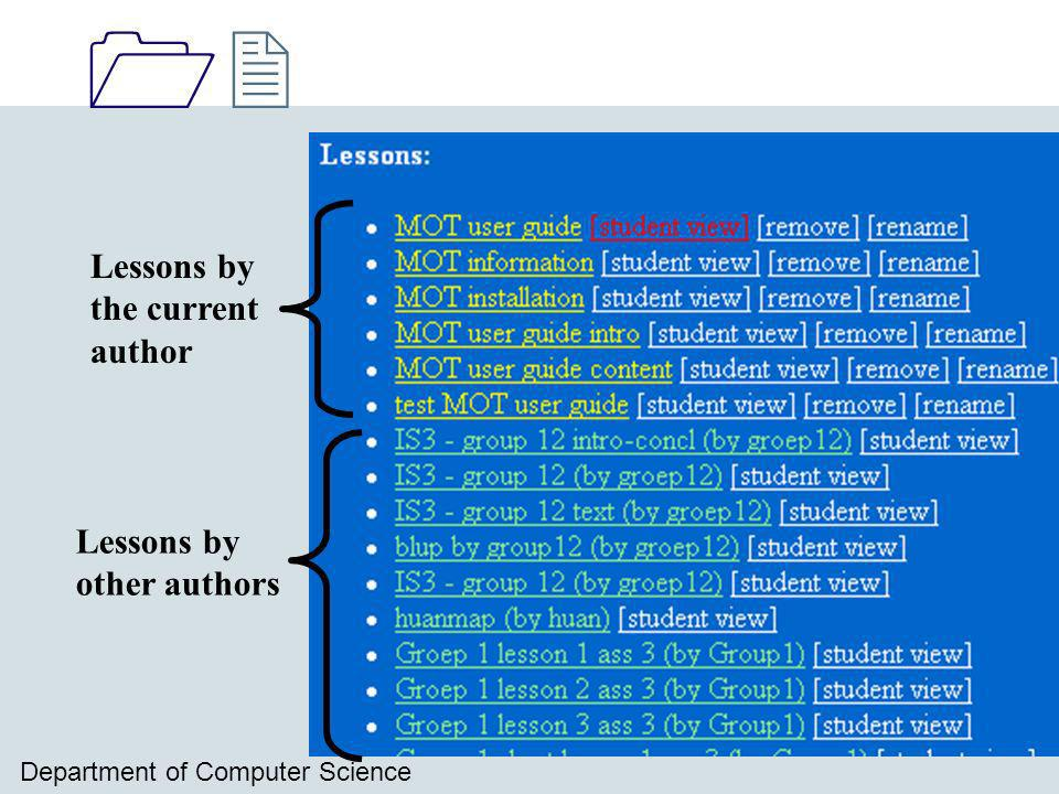 1212 Department of Computer Science Lessons by the current author Lessons by other authors