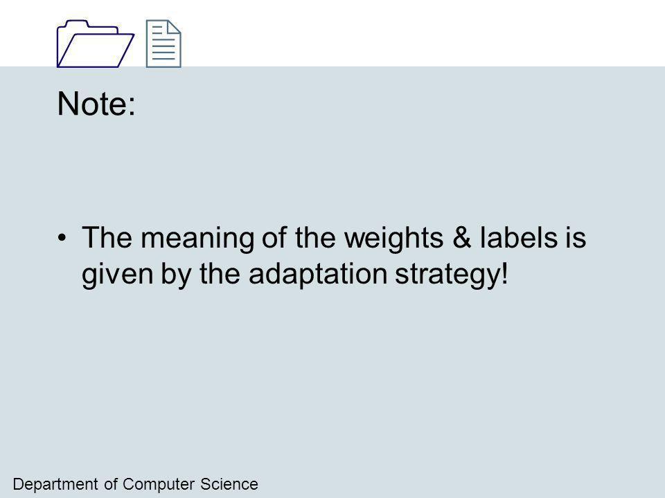 1212 Department of Computer Science Note: The meaning of the weights & labels is given by the adaptation strategy!