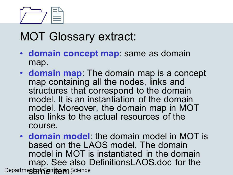 1212 Department of Computer Science MOT Glossary extract: domain concept map: same as domain map.