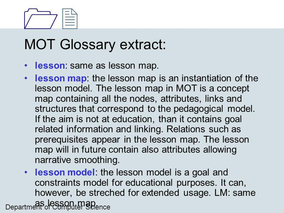 1212 Department of Computer Science MOT Glossary extract: lesson: same as lesson map.