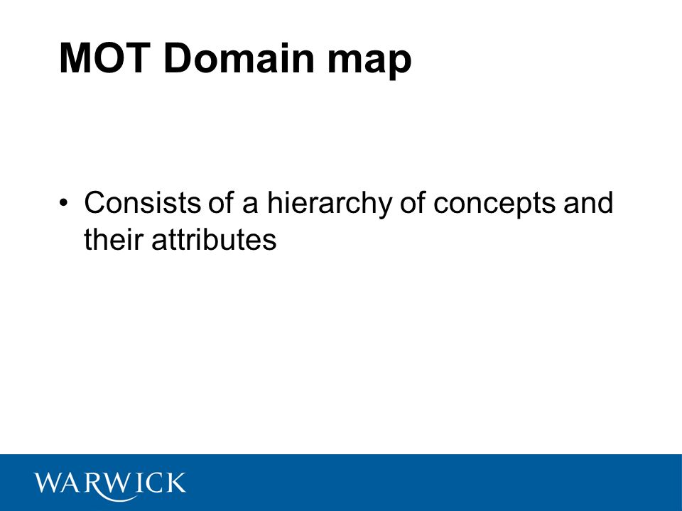 MOT Domain map Consists of a hierarchy of concepts and their attributes