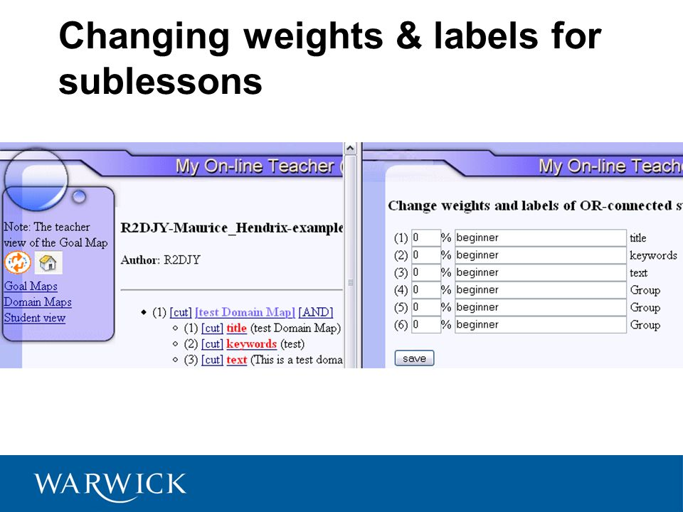 Changing weights & labels for sublessons