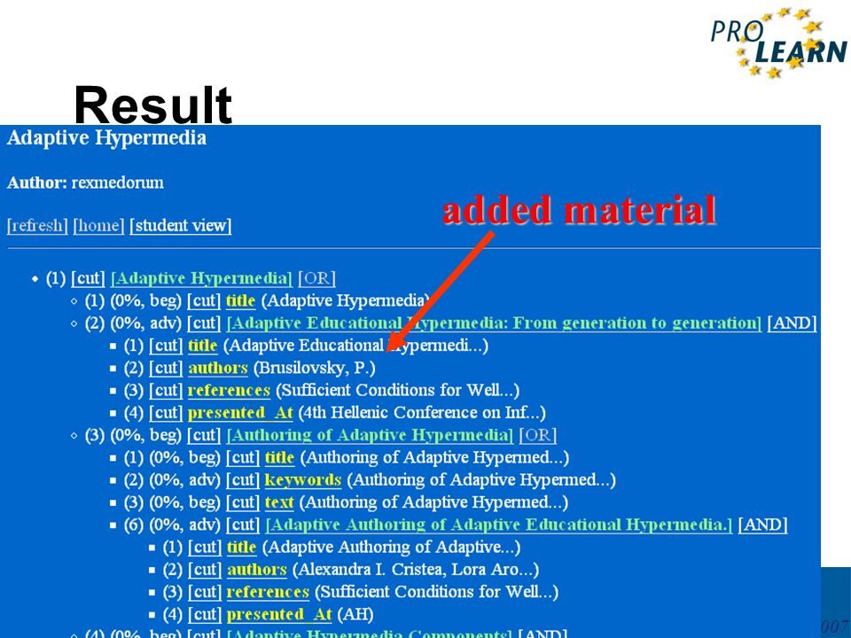 PROLEARN International Summer School 27May – 2June 2007 Result added material
