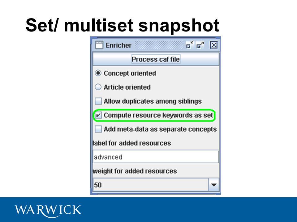 Set/ multiset snapshot