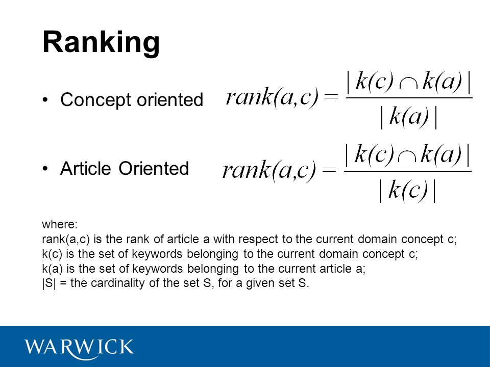 Ranking Concept oriented Article Oriented where: rank(a,c) is the rank of article a with respect to the current domain concept c; k(c) is the set of keywords belonging to the current domain concept c; k(a) is the set of keywords belonging to the current article a; |S| = the cardinality of the set S, for a given set S.