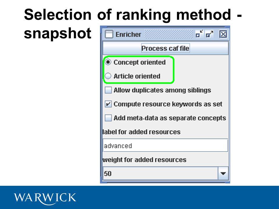 Selection of ranking method - snapshot
