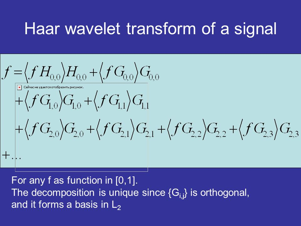 Haar wavelet transform of a signal For any f as function in [0,1]. The decomposition is unique since {G i,j } is orthogonal, and it forms a basis in L