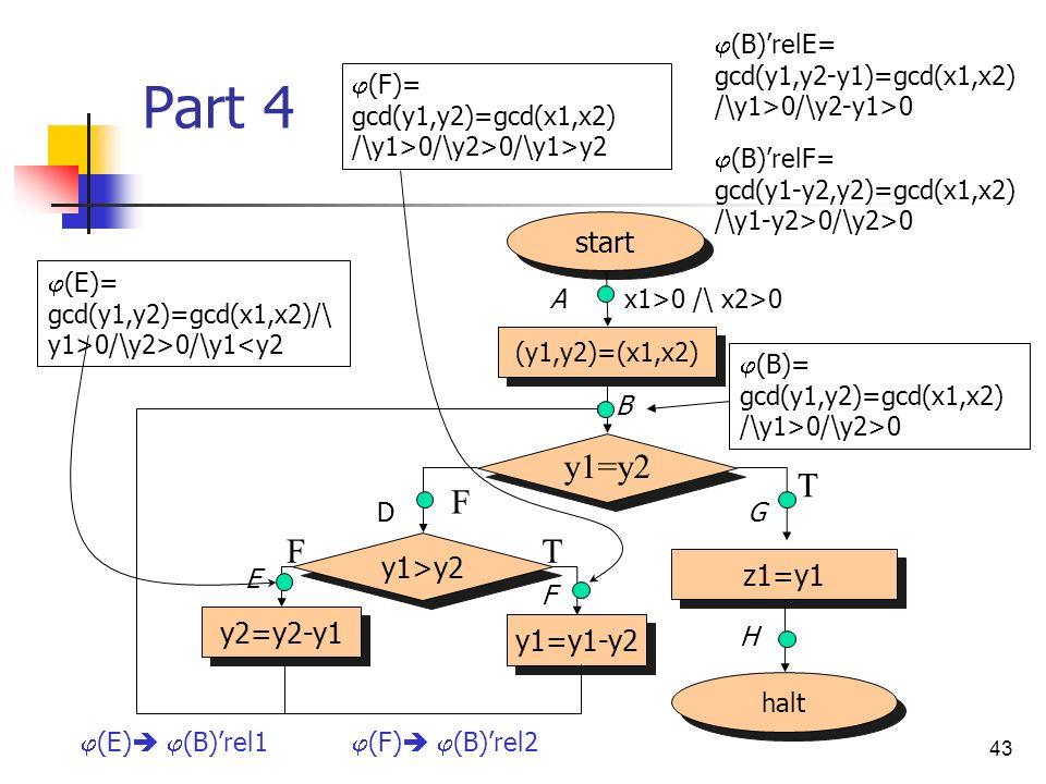 43 Part 4 halt start (y1,y2)=(x1,x2) z1=y1 y1=y2 F T y1>y2 y2=y2-y1 y1=y1-y2 TF x1>0 /\ x2>0 (B)= gcd(y1,y2)=gcd(x1,x2) /\y1>0/\y2>0 (E)= gcd(y1,y2)=gcd(x1,x2)/\ y1>0/\y2>0/\y1<y2 (F)= gcd(y1,y2)=gcd(x1,x2) /\y1>0/\y2>0/\y1>y2 A B D E F G H (B)relE= gcd(y1,y2-y1)=gcd(x1,x2) /\y1>0/\y2-y1>0 (B)relF= gcd(y1-y2,y2)=gcd(x1,x2) /\y1-y2>0/\y2>0 (E) (B)rel1 (F) (B)rel2