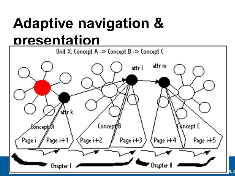 AH&SW course Bucharest, Romania January 2007 Adaptive navigation & presentation