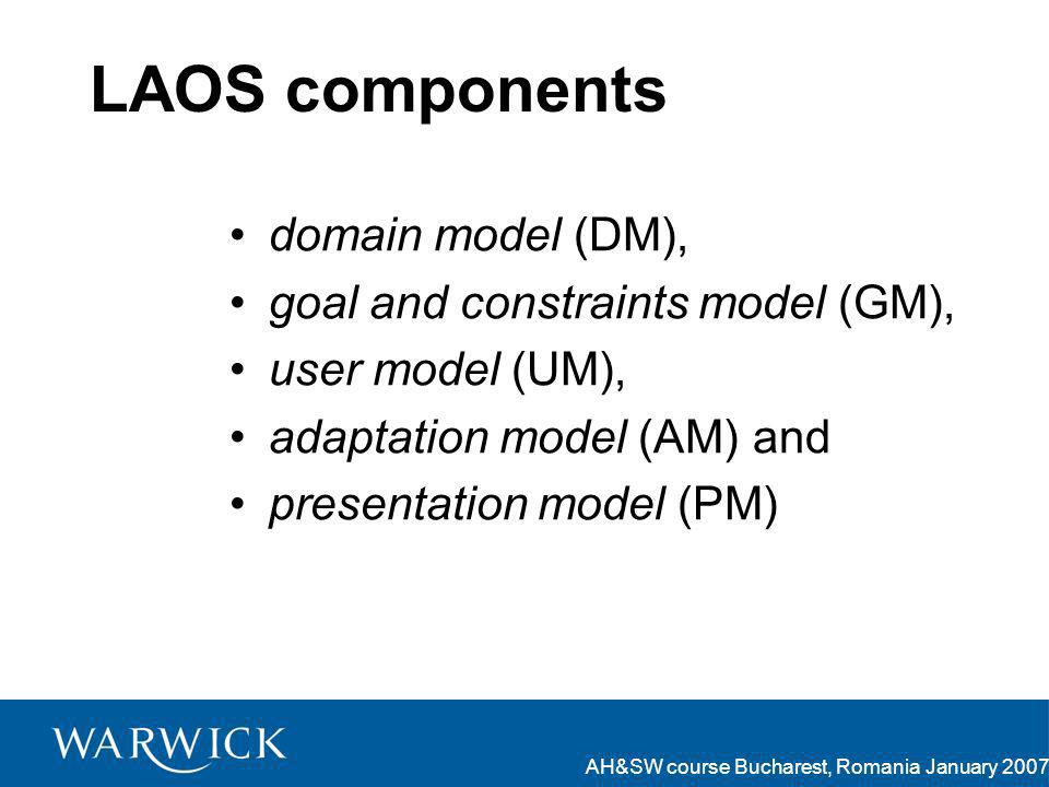 AH&SW course Bucharest, Romania January 2007 LAOS components domain model (DM), goal and constraints model (GM), user model (UM), adaptation model (AM) and presentation model (PM)