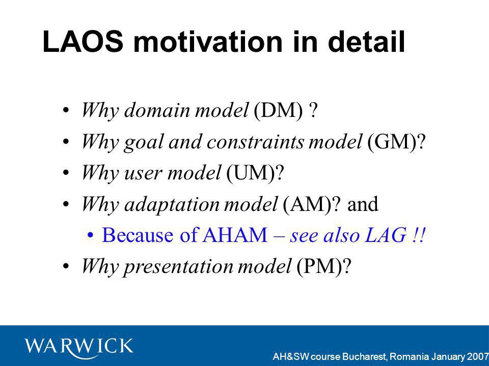 AH&SW course Bucharest, Romania January 2007 LAOS motivation in detail Why domain model (DM) .
