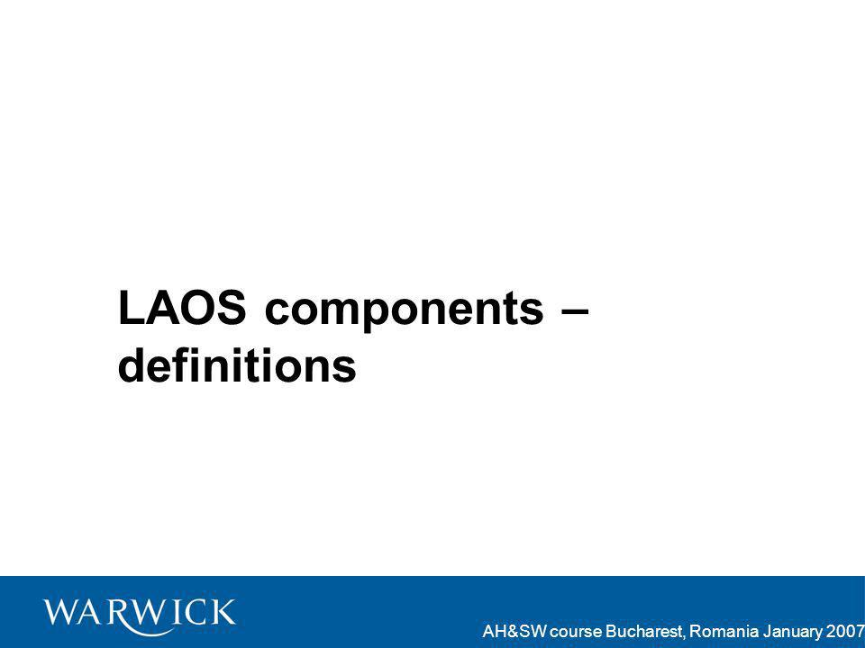 AH&SW course Bucharest, Romania January 2007 LAOS components – definitions