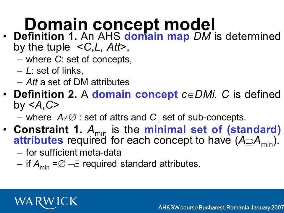 AH&SW course Bucharest, Romania January 2007 Domain concept model Definition 1.