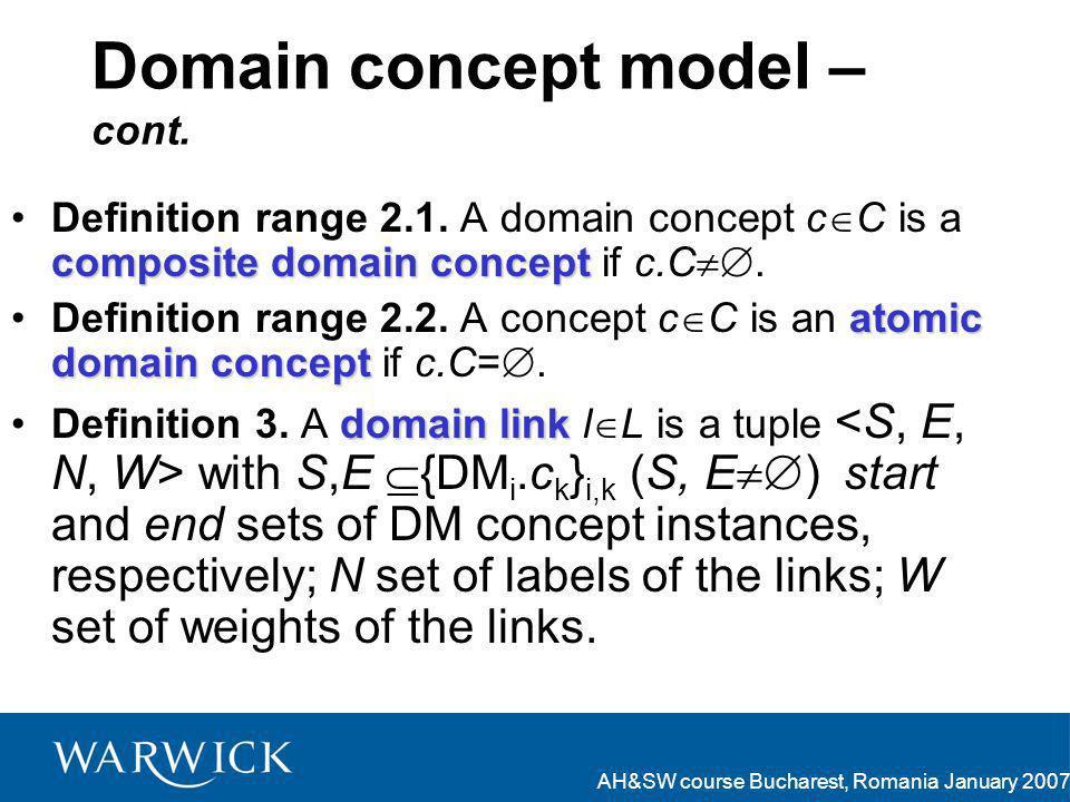 AH&SW course Bucharest, Romania January 2007 Domain concept model – cont. composite domain conceptDefinition range 2.1. A domain concept c C is a comp