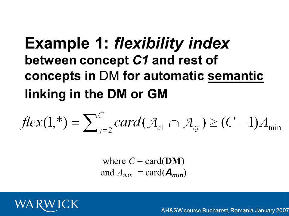 AH&SW course Bucharest, Romania January 2007 Example 1: flexibility index between concept C1 and rest of concepts in DM for automatic semantic linking in the DM or GM where C = card(DM) and A min = card( A min )