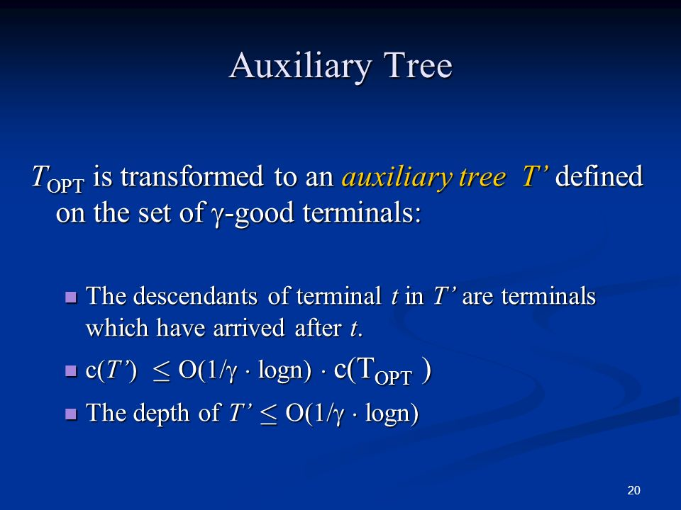 20 Auxiliary Tree T OPT is transformed to an auxiliary tree T defined on the set of -good terminals: The descendants of terminal t in T are terminals