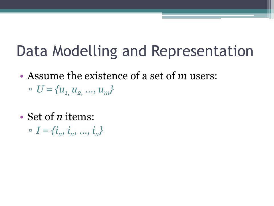Data Modelling and Representation Assume the existence of a set of m users: U = {u 1, u 2, …, u m } Set of n items: I = {i n, i n, …, i n }
