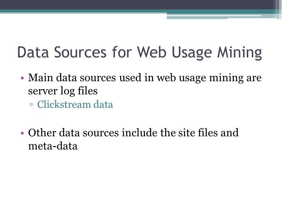 Data Sources for Web Usage Mining Main data sources used in web usage mining are server log files Clickstream data Other data sources include the site