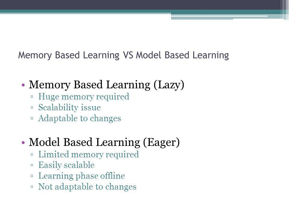 Memory Based Learning VS Model Based Learning Memory Based Learning (Lazy) Huge memory required Scalability issue Adaptable to changes Model Based Lea