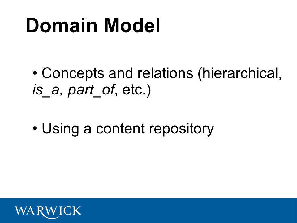 Domain Model Concepts and relations (hierarchical, is_a, part_of, etc.) Using a content repository