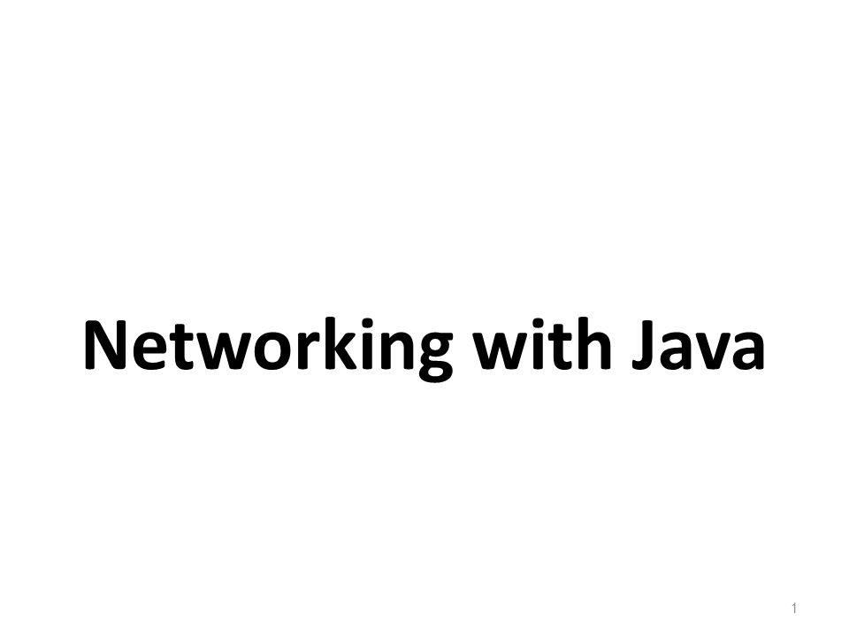 Networking with Java 1