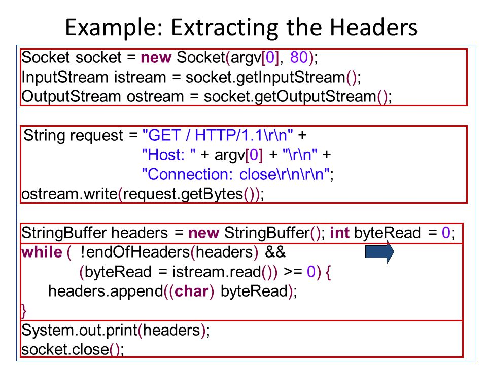 Example: Extracting the Headers 22 Socket socket = new Socket(argv[0], 80); InputStream istream = socket.getInputStream(); OutputStream ostream = socket.getOutputStream(); String request = GET / HTTP/1.1\r\n + Host: + argv[0] + \r\n + Connection: close\r\n\r\n ; ostream.write(request.getBytes()); StringBuffer headers = new StringBuffer(); int byteRead = 0; while ( !endOfHeaders(headers) && (byteRead = istream.read()) >= 0) { headers.append((char) byteRead); } System.out.print(headers); socket.close();