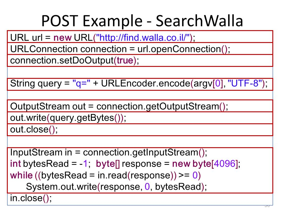 POST Example - SearchWalla 50 URL url = new URL(   ); URLConnection connection = url.openConnection(); connection.setDoOutput(true); String query = q= + URLEncoder.encode(argv[0], UTF-8 ); OutputStream out = connection.getOutputStream(); out.write(query.getBytes()); out.close(); InputStream in = connection.getInputStream(); int bytesRead = -1; byte[] response = new byte[4096]; while ((bytesRead = in.read(response)) >= 0) System.out.write(response, 0, bytesRead); in.close();