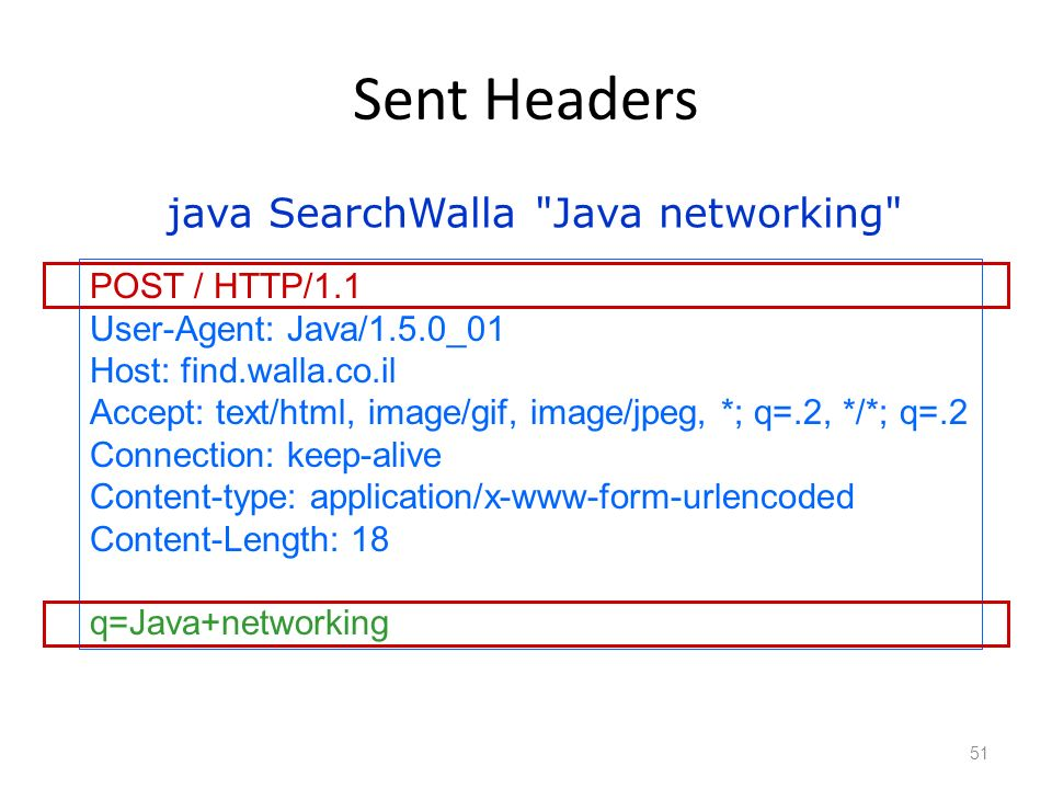 Sent Headers 51 POST / HTTP/1.1 User-Agent: Java/1.5.0_01 Host: find.walla.co.il Accept: text/html, image/gif, image/jpeg, *; q=.2, */*; q=.2 Connection: keep-alive Content-type: application/x-www-form-urlencoded Content-Length: 18 q=Java+networking java SearchWalla Java networking