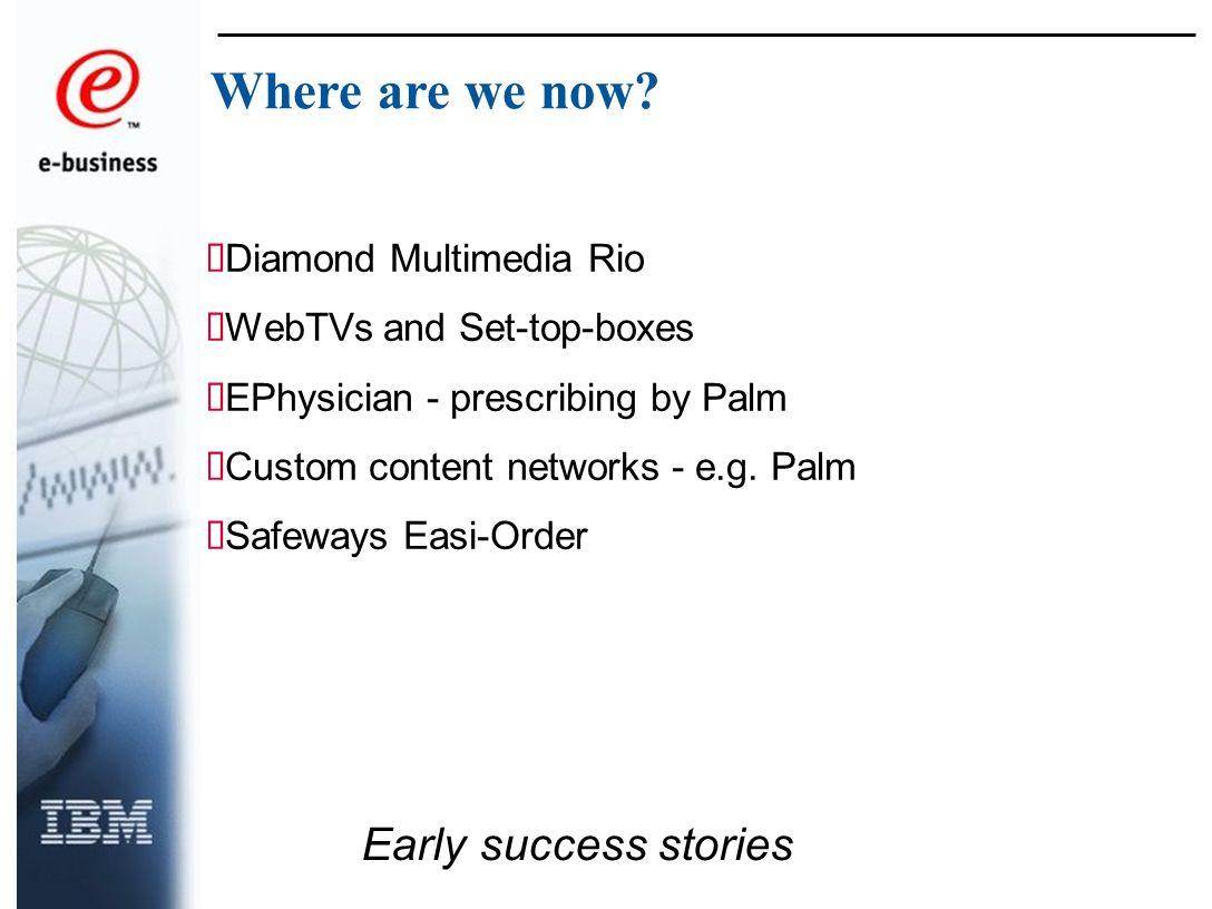 Diamond Multimedia Rio WebTVs and Set-top-boxes EPhysician - prescribing by Palm Custom content networks - e.g.