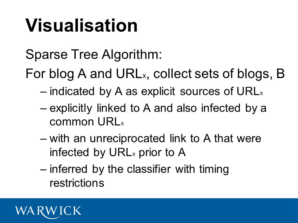 Visualisation Sparse Tree Algorithm: For blog A and URL x, collect sets of blogs, B –indicated by A as explicit sources of URL x –explicitly linked to A and also infected by a common URL x –with an unreciprocated link to A that were infected by URL x prior to A –inferred by the classifier with timing restrictions