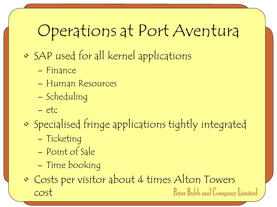 Operations at Port Aventura SAP used for all kernel applications –Finance –Human Resources –Scheduling –etc Specialised fringe applications tightly integrated –Ticketing –Point of Sale –Time booking Costs per visitor about 4 times Alton Towers cost