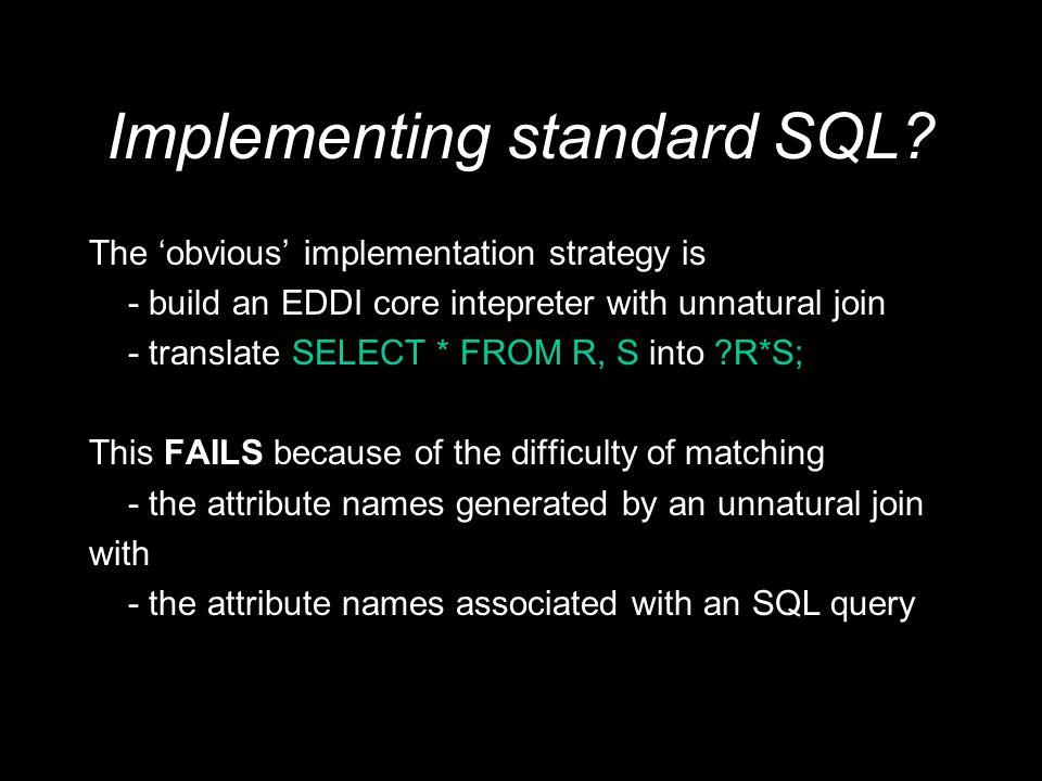 Implementing standard SQL.