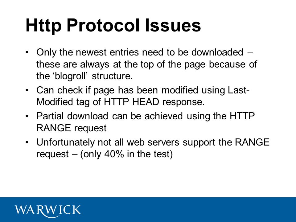 Http Protocol Issues Only the newest entries need to be downloaded – these are always at the top of the page because of the blogroll structure.
