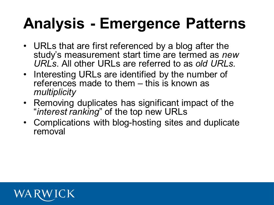 Analysis - Emergence Patterns URLs that are first referenced by a blog after the studys measurement start time are termed as new URLs.