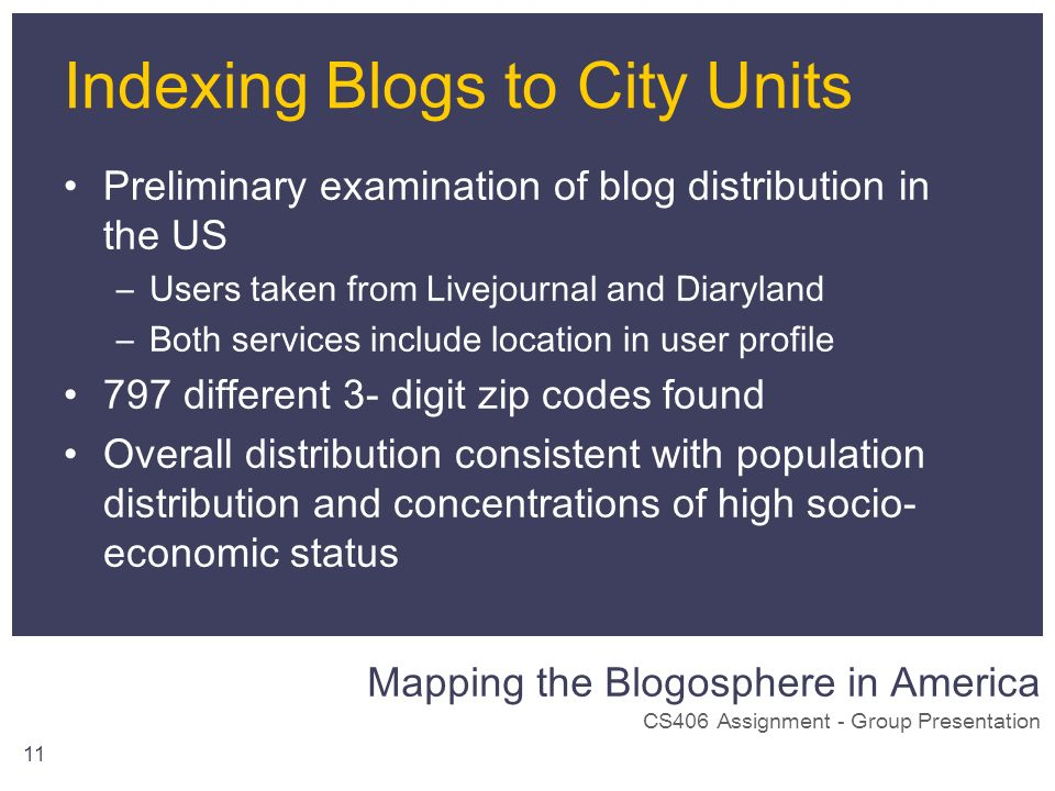 Mapping the Blogosphere in America CS406 Assignment - Group Presentation 11 Indexing Blogs to City Units Preliminary examination of blog distribution