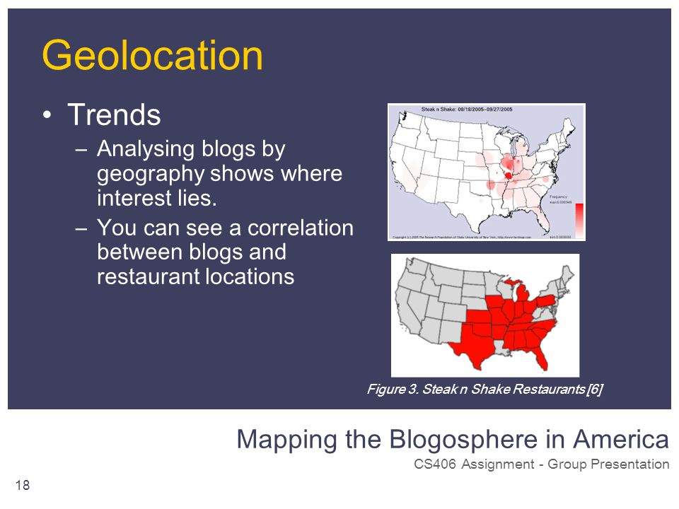 Mapping the Blogosphere in America CS406 Assignment - Group Presentation 18 Trends –Analysing blogs by geography shows where interest lies. –You can s
