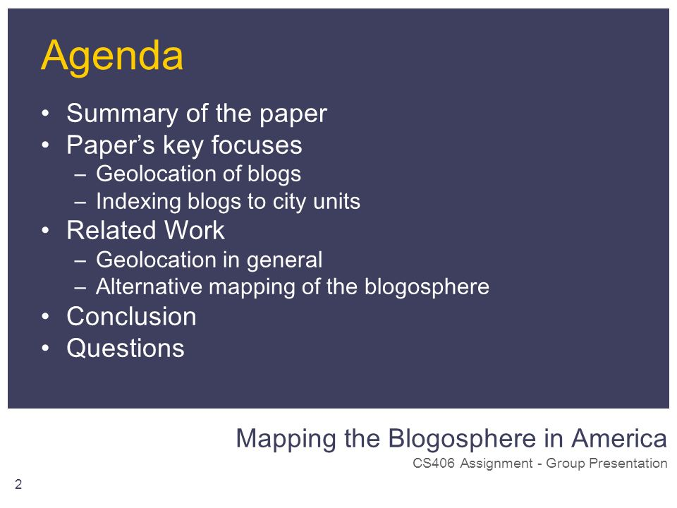 Mapping the Blogosphere in America CS406 Assignment - Group Presentation 2 Agenda Summary of the paper Papers key focuses –Geolocation of blogs –Index