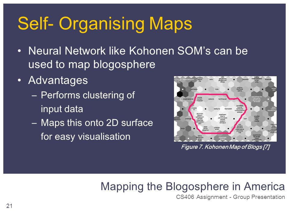 Mapping the Blogosphere in America CS406 Assignment - Group Presentation 21 Self- Organising Maps Neural Network like Kohonen SOMs can be used to map