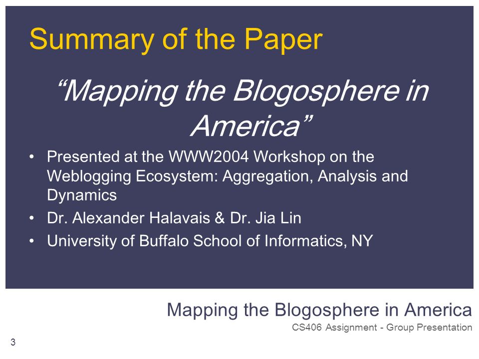 Mapping the Blogosphere in America CS406 Assignment - Group Presentation 3 Summary of the Paper Mapping the Blogosphere in America Presented at the WW