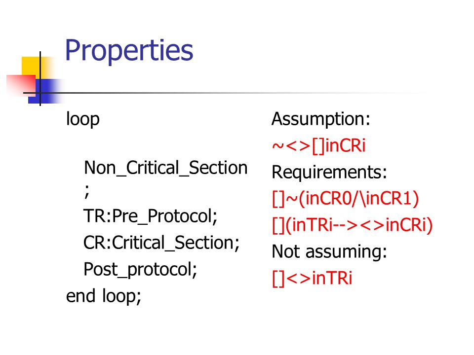 Properties loop Non_Critical_Section ; TR:Pre_Protocol; CR:Critical_Section; Post_protocol; end loop; Assumption: ~<>[]inCRi Requirements: []~(inCR0/\inCR1) [](inTRi--><>inCRi) Not assuming: []<>inTRi