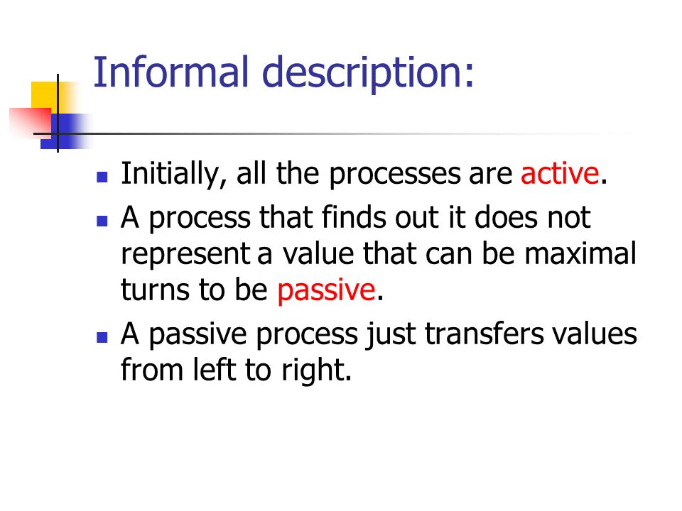 Informal description: Initially, all the processes are active.