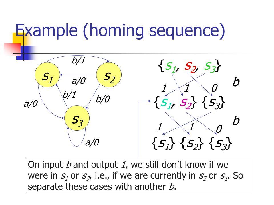 Example (homing sequence) s1s1 s3s3 s2s2 a/0 b/1 b/0 b/1 a/0 {s 1, s 2, s 3 } {s 1, s 2 } {s 3 } {s 1 } {s 2 } {s 3 } b b 1 0 011 1 On input b and out
