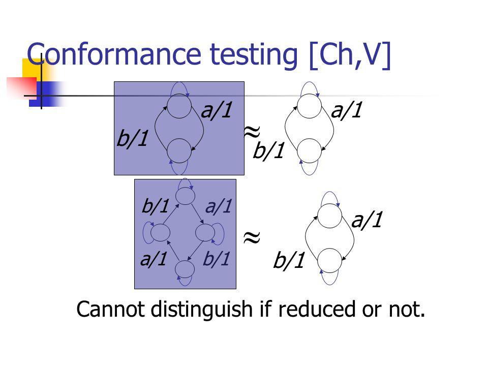 Conformance testing [Ch,V] a/1 b/1 Cannot distinguish if reduced or not. a/1 b/1 a/1 b/1 a/1 b/1 a/1 b/1