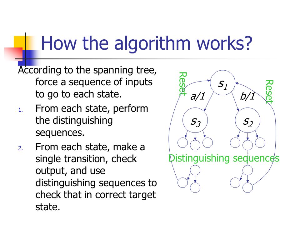 How the algorithm works? According to the spanning tree, force a sequence of inputs to go to each state. 1. From each state, perform the distinguishin